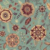 Teste padrão floral sem emenda no estilo 2 da garatuja Foto de Stock