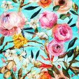 Teste padrão floral sem emenda pintado óleo ilustração do vetor