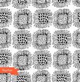 Teste padrão floral sem emenda preto e branco decorativo Fundo decorativo da beleza com flores Fotos de Stock Royalty Free