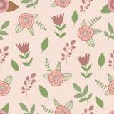 Teste padrão floral sem emenda Vetor desenhado mão Imagens de Stock Royalty Free