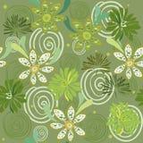 Teste padrão floral swirly verde sem emenda ilustração stock