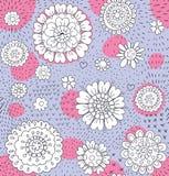 Teste padrão floral tirado mão Fotos de Stock Royalty Free