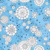 Teste padrão floral tirado mão Fotografia de Stock