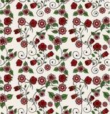Teste padrão floral vermelho e cor-de-rosa ilustração do vetor
