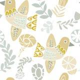 Teste padrão folclo'rico pastel dos pássaros e de flores ilustração do vetor
