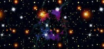 Teste padrão fumarento caótico abstrato com um brilho das luzes brancas e amarelas sob a forma das estrelas da luz em um fundo pr ilustração royalty free