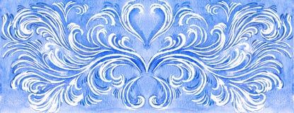 Teste padrão gelado tirado mão no fundo branco Backgr da aquarela ilustração stock
