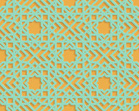 Teste padrão geométrico árabe azul sem emenda no fundo alaranjado Fotos de Stock