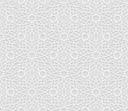 Teste padrão geométrico árabe sem emenda, 3D teste padrão branco, ornamento indiano, motivo persa, vetor A textura infinita pode  Fotos de Stock Royalty Free