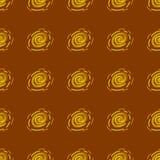 Teste padrão geométrico abstrato amarelo e alaranjado no fundo marrom Foto de Stock Royalty Free