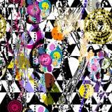Teste padrão geométrico abstrato sem emenda do fundo, com círculos, tr ilustração stock