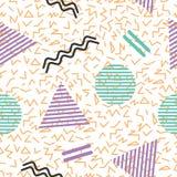 Teste padrão geométrico abstrato sem emenda no estilo retro de memphis ilustração stock