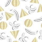 Teste padrão geométrico abstrato sem emenda no estilo retro de memphis, com ilustração da banana ilustração stock