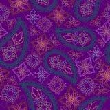 Teste padrão geométrico brilhante sem emenda com paisley e flores Cópia do vetor Fotografia de Stock Royalty Free