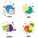Teste padrão geométrico do estilo na moda com fruto, ilustração do vetor Foto de Stock Royalty Free