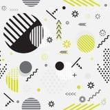 Teste padrão geométrico do estilo na moda do eco de Memphis com geométrico brilhante Imagem de Stock