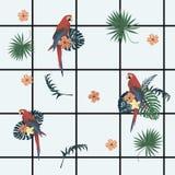 Teste padrão geométrico exótico do vecor sem emenda com pilhas, papagaios, flores, penas Imagem de Stock Royalty Free