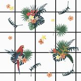 Teste padrão geométrico exótico do vecor sem emenda com pilhas, papagaios, flores, penas Fotos de Stock Royalty Free