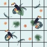 Teste padrão geométrico exótico do vecor sem emenda com pilhas, tucanos, flores, penas Fotografia de Stock