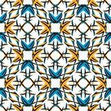 Teste padrão geométrico sem emenda, cores básicas do preto azul alaranjado Vetor ilustração royalty free