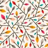 Teste padrão geométrico sem emenda das folhas de outono e dos galhos Fotos de Stock