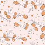 Teste padrão geométrico sem emenda das folhas e das bagas de outono ilustração stock
