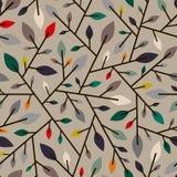 Teste padrão geométrico sem emenda das folhas e dos ramos de outono Fotografia de Stock