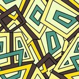 Teste padrão geométrico sem emenda dentro em tons amarelos e verdes khaki Para a matéria têxtil da forma, pano, fundos Fotos de Stock Royalty Free