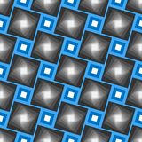 Teste padrão geométrico sem emenda do vetor abstrato Quadros azuis com as telhas cinzentas das máscaras fotos de stock royalty free