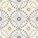 Teste padrão geométrico sem emenda do vintage Preto do vetor e textura retro do círculo do ouro Fotos de Stock Royalty Free