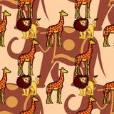 Teste padrão gráfico sem emenda com os animais selvagens bonitos Foto de Stock Royalty Free