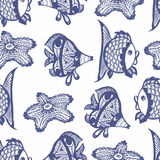 Teste padrão gráfico sem emenda com peixes Imagens de Stock Royalty Free