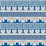 Teste padrão grego azul e bege sem emenda Imagens de Stock Royalty Free