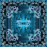 Teste padrão grego do painel do quadrado 3d Backgr brilhante azul floral do vetor Fotografia de Stock