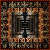 Teste padrão grego geométrico do painel 3d Backgro abstrato ornamentado do vetor Fotos de Stock Royalty Free