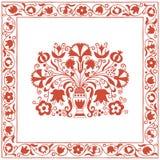 Teste padrão húngaro antigo do bordado com cravos e pomegrates Imagem de Stock