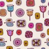 Teste padrão hand-drawn abstrato sem emenda. Fotos de Stock Royalty Free