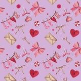 Teste padrão Handdrawn da aquarela para o dia de Valentim: coração, chave, fechamento, curva, envelope, amor, doces ilustração royalty free