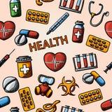 Teste padrão handdrawn da saúde sem emenda com - Fotografia de Stock