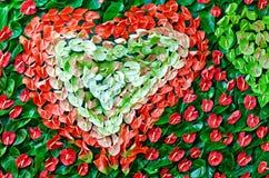 Teste padrão Heart-shaped das folhas coloridas imagens de stock royalty free