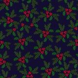 Teste padrão ilustrado sem emenda do azevinho do Natal Imagens de Stock