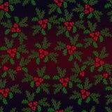 Teste padrão ilustrado sem emenda do azevinho do Natal Fotografia de Stock