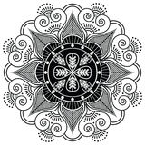 Teste padrão indiano cercado com elementos do coração Fotografia de Stock Royalty Free