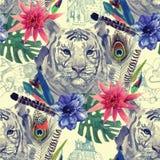 Teste padrão indiano da cabeça do tigre do estilo do vintage com Fotos de Stock