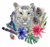 Teste padrão indiano da cabeça do tigre do estilo do vintage com penas, flores e folhas Ilustração tirada mão da aquarela Fotografia de Stock
