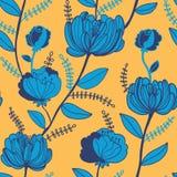 Teste padrão floral brilhante em amarelo e no azul. Fundo abstrato da flor. Ilustração do vetor ilustração do vetor