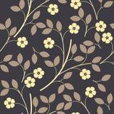 Teste padrão infinito com flores e as folhas decorativas Imagem de Stock Royalty Free