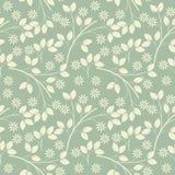 Teste padrão infinito com flores e folhas do marfim na luz - fre verde ilustração do vetor
