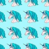 Teste padrão infinito com unicórnios azuis Foto de Stock Royalty Free