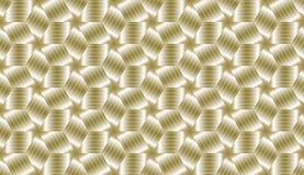 Teste padrão infinito decorativo dos cubos dourados Fotos de Stock